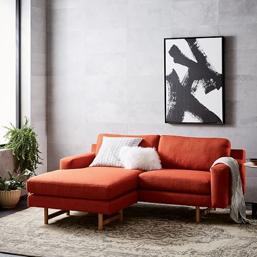 west elm Eddy Reversible Sectional - Feather Gray (Deco Weave ...