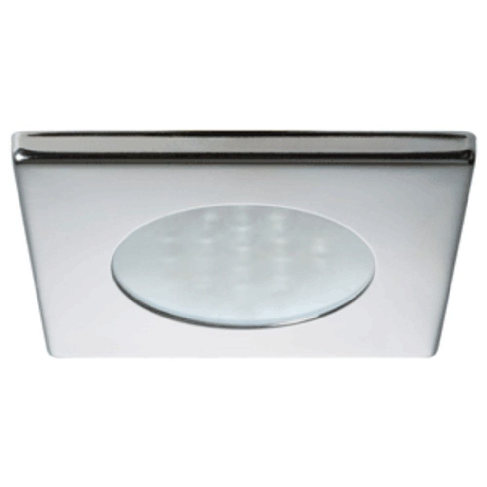 Quick Bryan C Downlight LED - 2W, IP40, Spring Mounted w/Switch - Square Stainless Bezel, Round Warm White Light