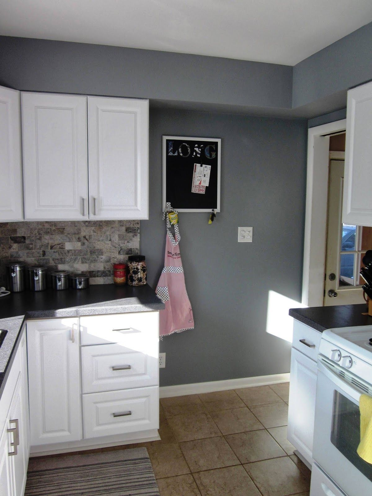 It S A Long Story Kitchen Update New Paint Grey Kitchen Colors Kitchen Wall Colors Bedroom Wall Colors Grey paint for kitchen