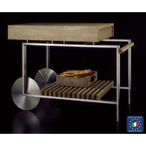 Carrello cucina Piano di lavoro in massello di rovere dogato, due ...