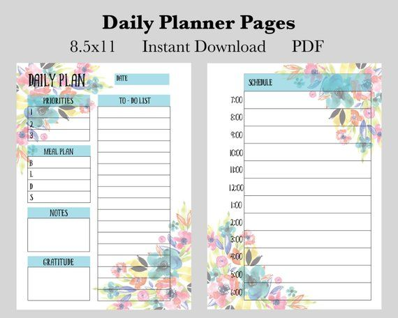 Monthly Weekly Daily Planner Pages Printable Instant