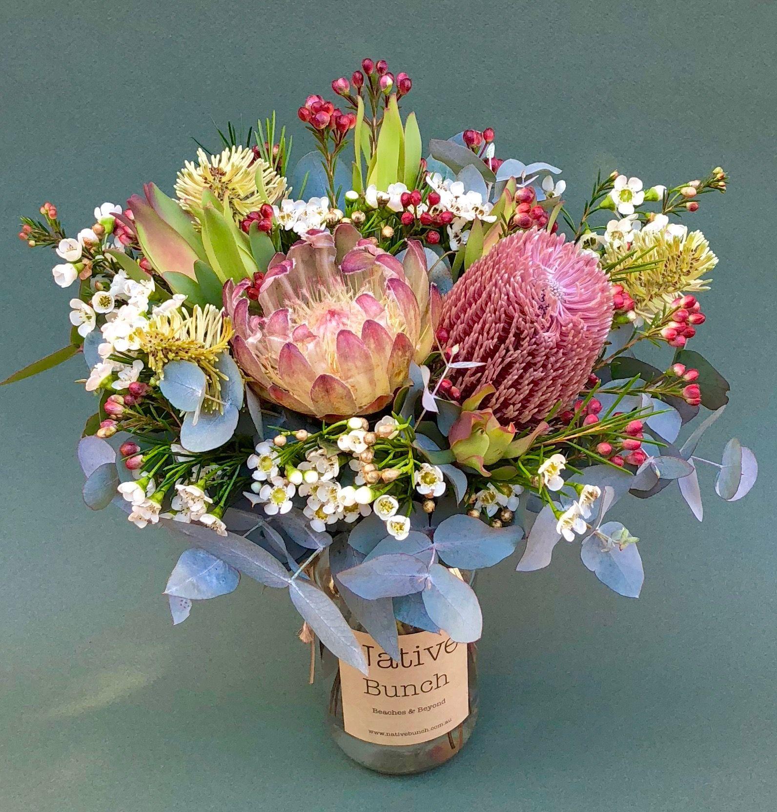 Native Flowers In A Jar Banksia Protea Waxflower Buds Online This Week Birthday Flowers Arrangements Australian Native Flowers Australian Flowers