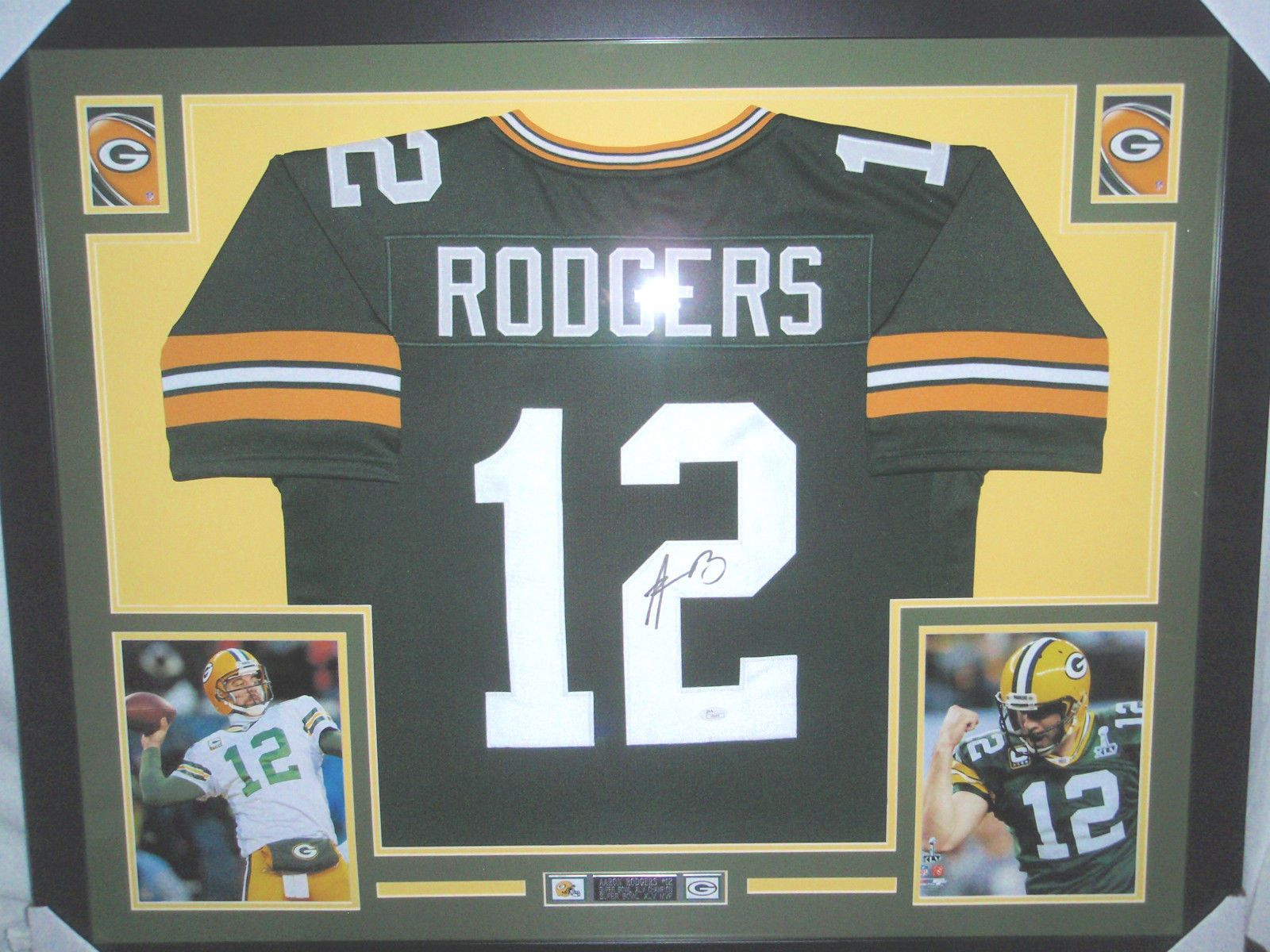 AARON RODGERS AUTOGRAPHED FRAMED GREEN BAY PACKERS FOOTBALL JERSEY ...