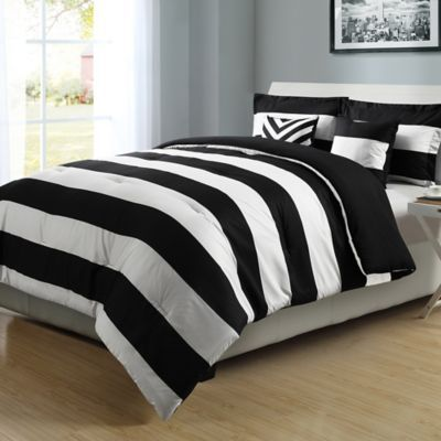 Graphic Stripe Reversible Comforter Set In Black White Bedbathandbeyond Ca White Gold Bedroom Gold Bedroom Black Gold Bedroom