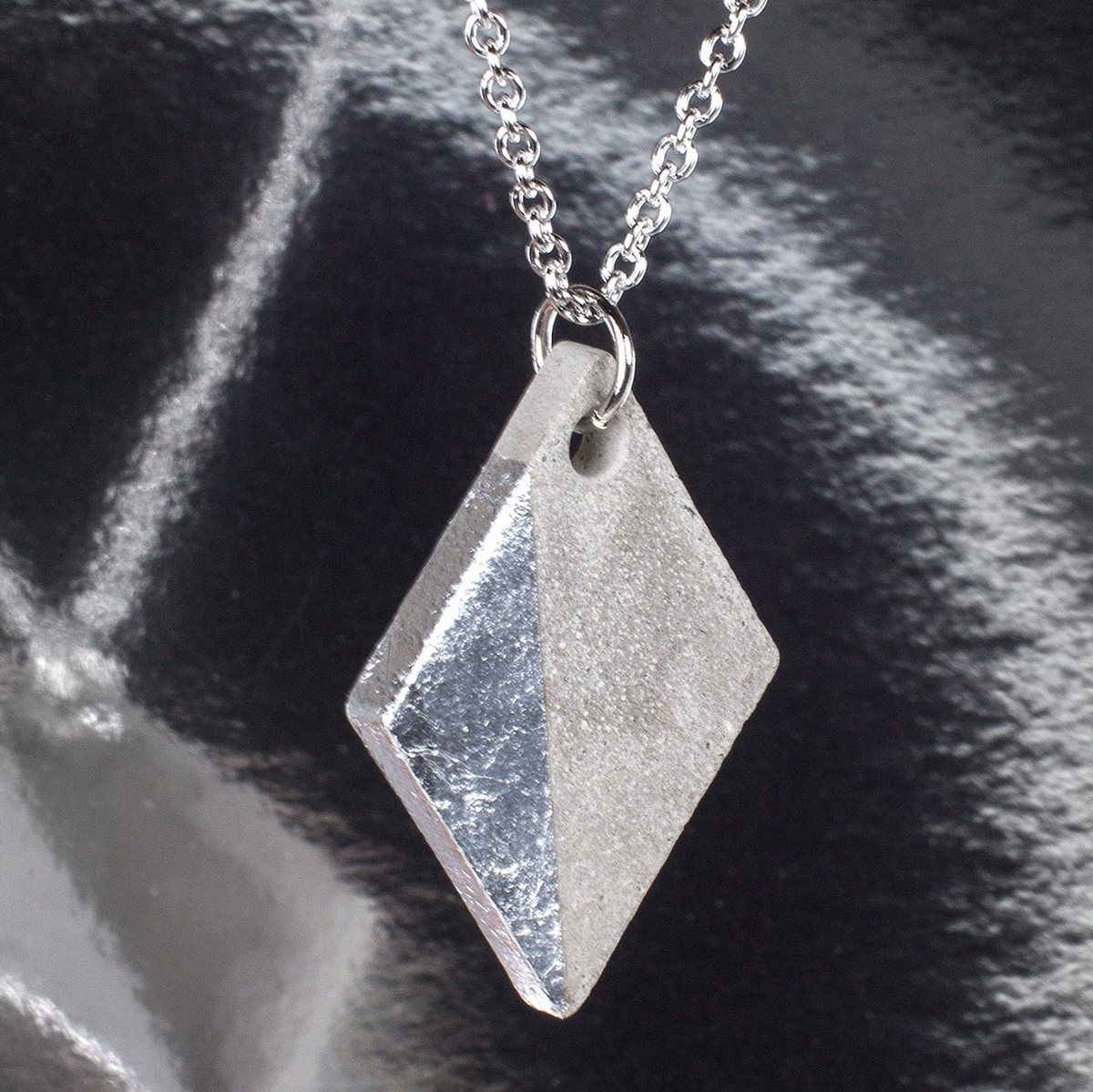 concrete pendant and leaf silver for inspiration