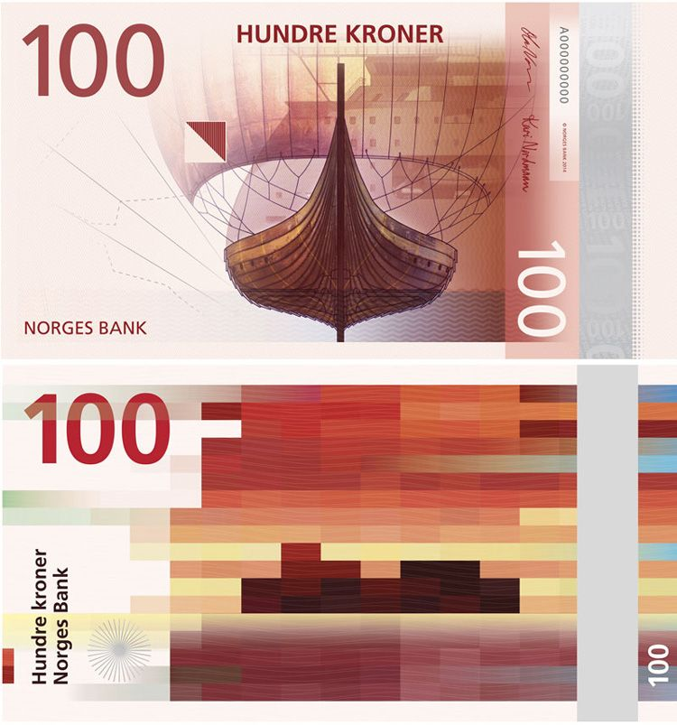 Norway S Central Bank Unveils New Banknote Designs Featuring Pixelated Graphics Currency Design Banknotes Design Money Design