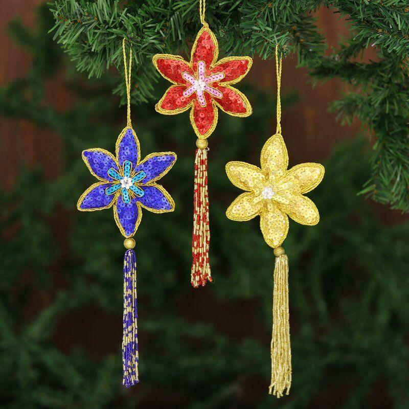 Christmas Handmade Beaded Sequin Colorful Hanging Figurine Ornament Set Of 3 Handmade Christmas Christmas Ornaments Ornament Set