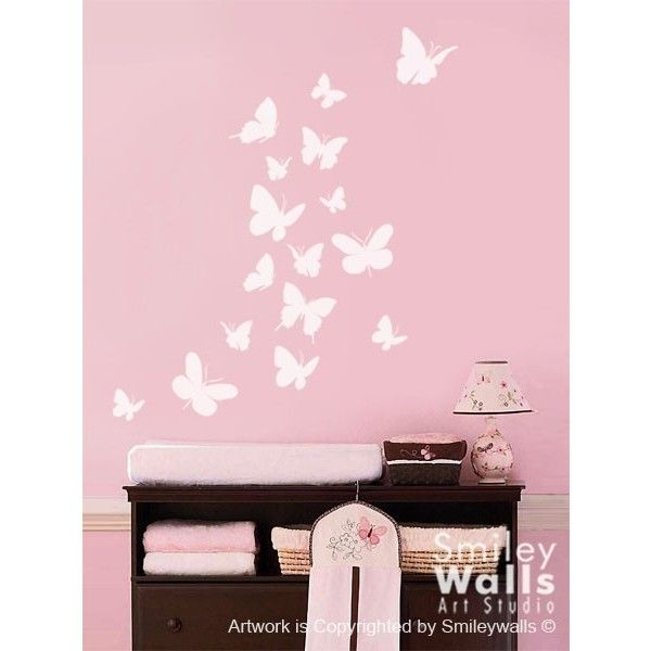 Butterflies Wall Decal Set of 16 Butterflies Wall Decal Nursery Kids... ($19) ❤ liked on Polyvore featuring home, children's room, children's decor, home & living, home décor, silver, wall decals & murals and wall décor