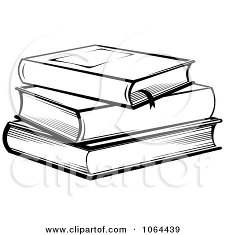 drawings of books | Clipart Stack Of Books In Black And White - Royalty Free Vector ...