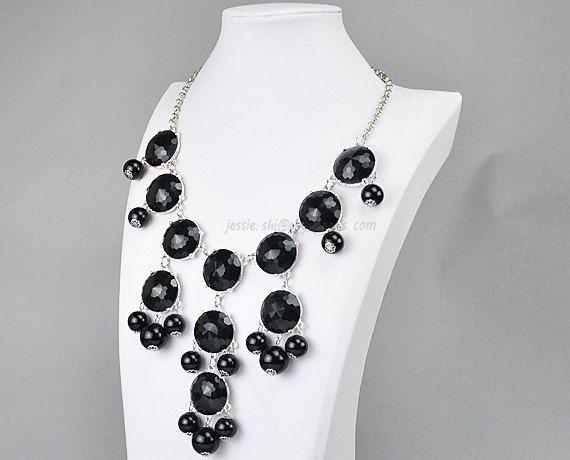 Bubble Bib Necklace, Silver Tone Necklace, Bubble Necklace, Black Necklace (FN0508-S-Black). $10.90, via Etsy.