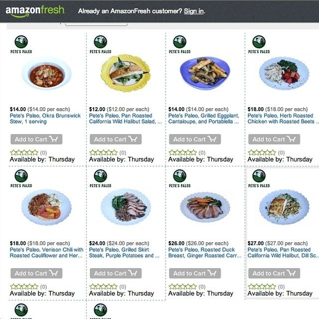 Individual Pete's Paleo meals are now on sale through Amazon Fresh