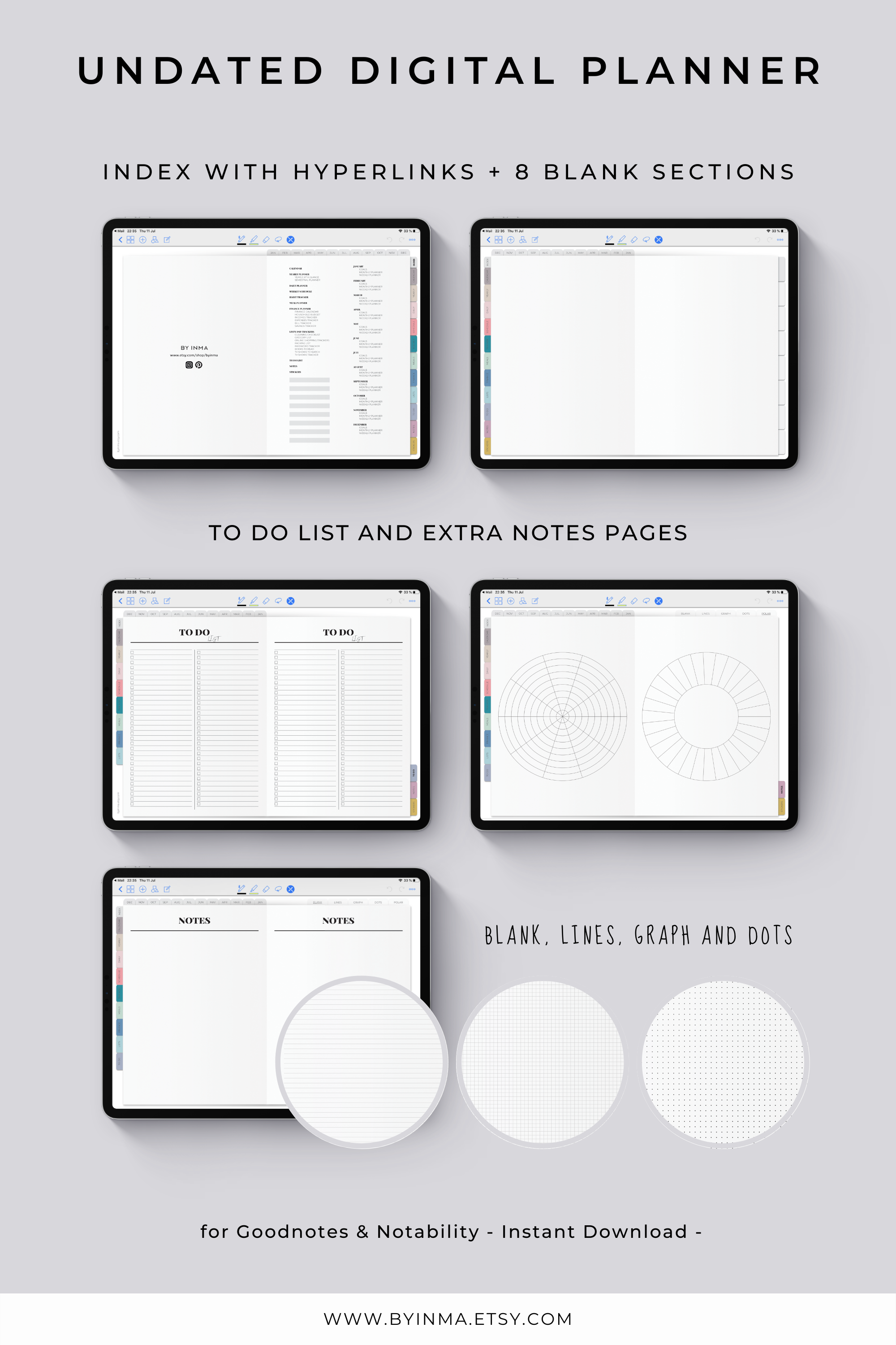 Digital Planner Goodnotes Ipad Pro Notability Template Etsy Digital Planner Planner Undated Weekly Planner