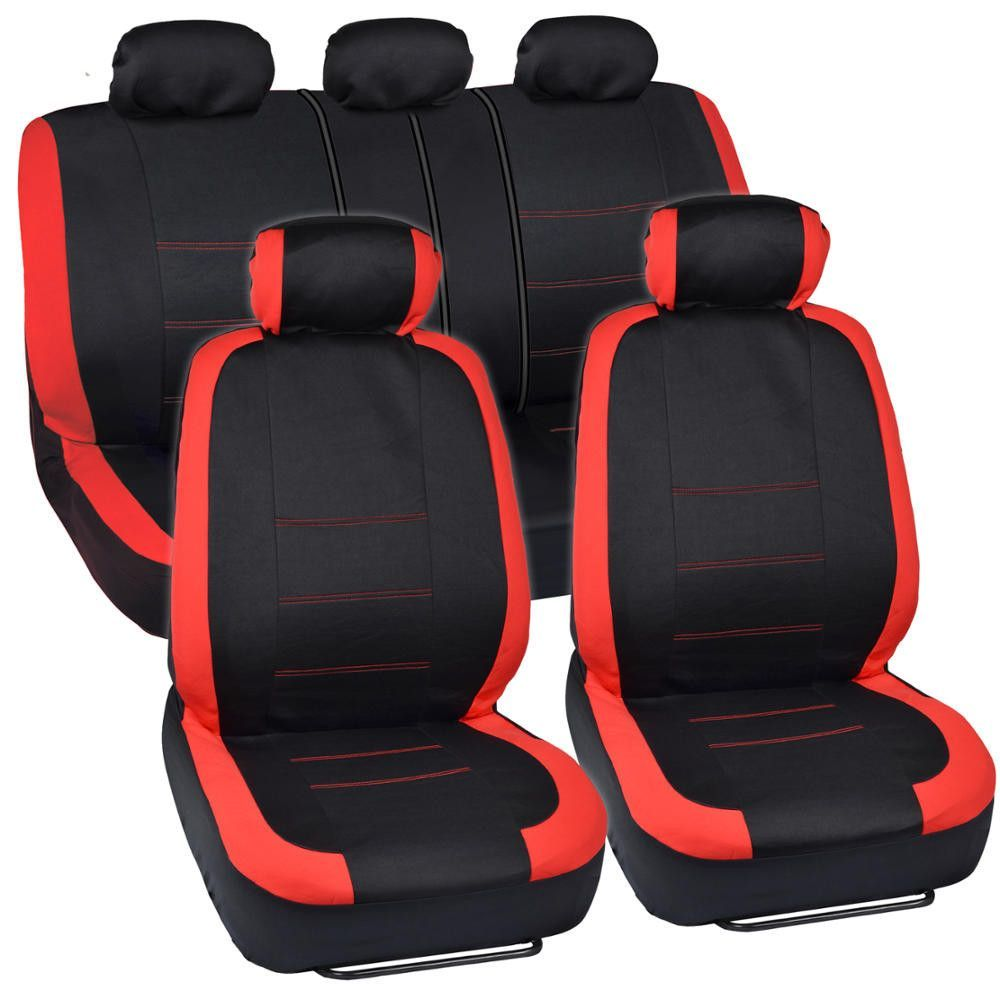 Venice Series Car Seat Covers Red Accent Rim Stitches On Black Carseat Cover Car Seats Seat Covers