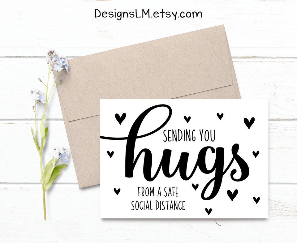 Printed Sending You Hugs From A Safe Social Distance 5x7 Etsy In 2020 Sending You A Hug Cards For Friends Friendship Day Cards