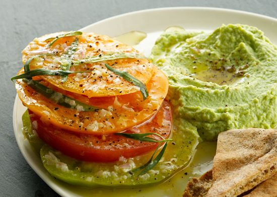 Summer Heirloom Tomatoes with Shell Bean Hummus