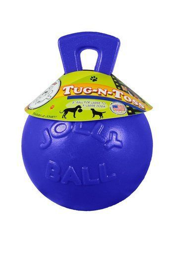 Jolly Pets Tug N Toss Ball With Handle Blue 8 Inch Rubber Chew