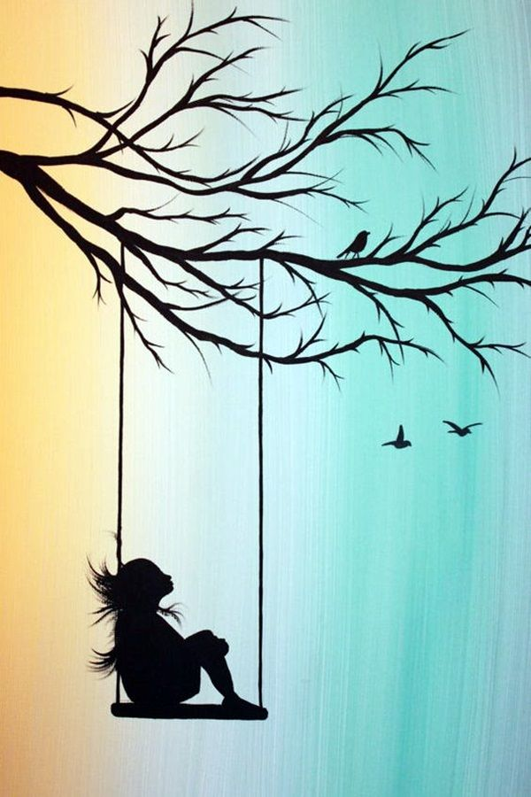 40 Amazing Silhouettes Art For Inspiration Bored Art Nature Art Drawings Silhouette Art Art Painting Acrylic