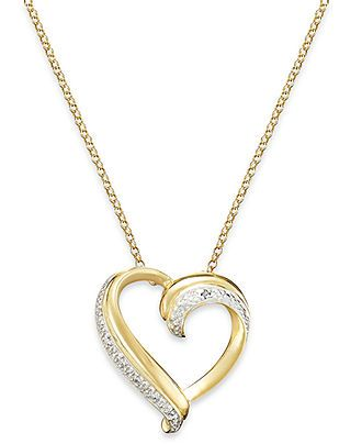Victoria Townsend 18k Gold Over Sterling Silver Necklace, Diamond Accent Heart Pendant - Silver Necklaces - Jewelry & Watches - Macy's