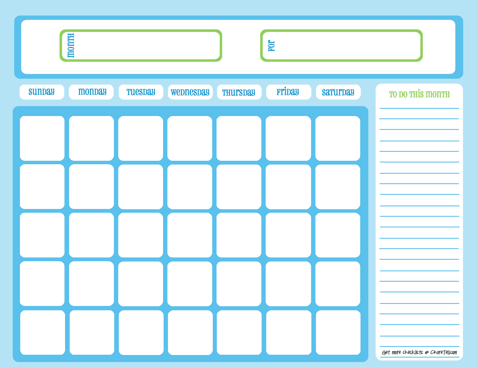 Blank chore calendar, blue on light blue | Free printable ...