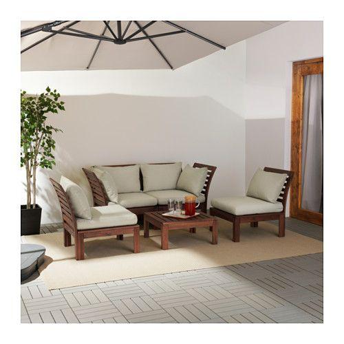 ÄPPLARÖ 4er-Sitzgruppe außen, braun las, Hållö beige beige - wohnzimmer braun beige