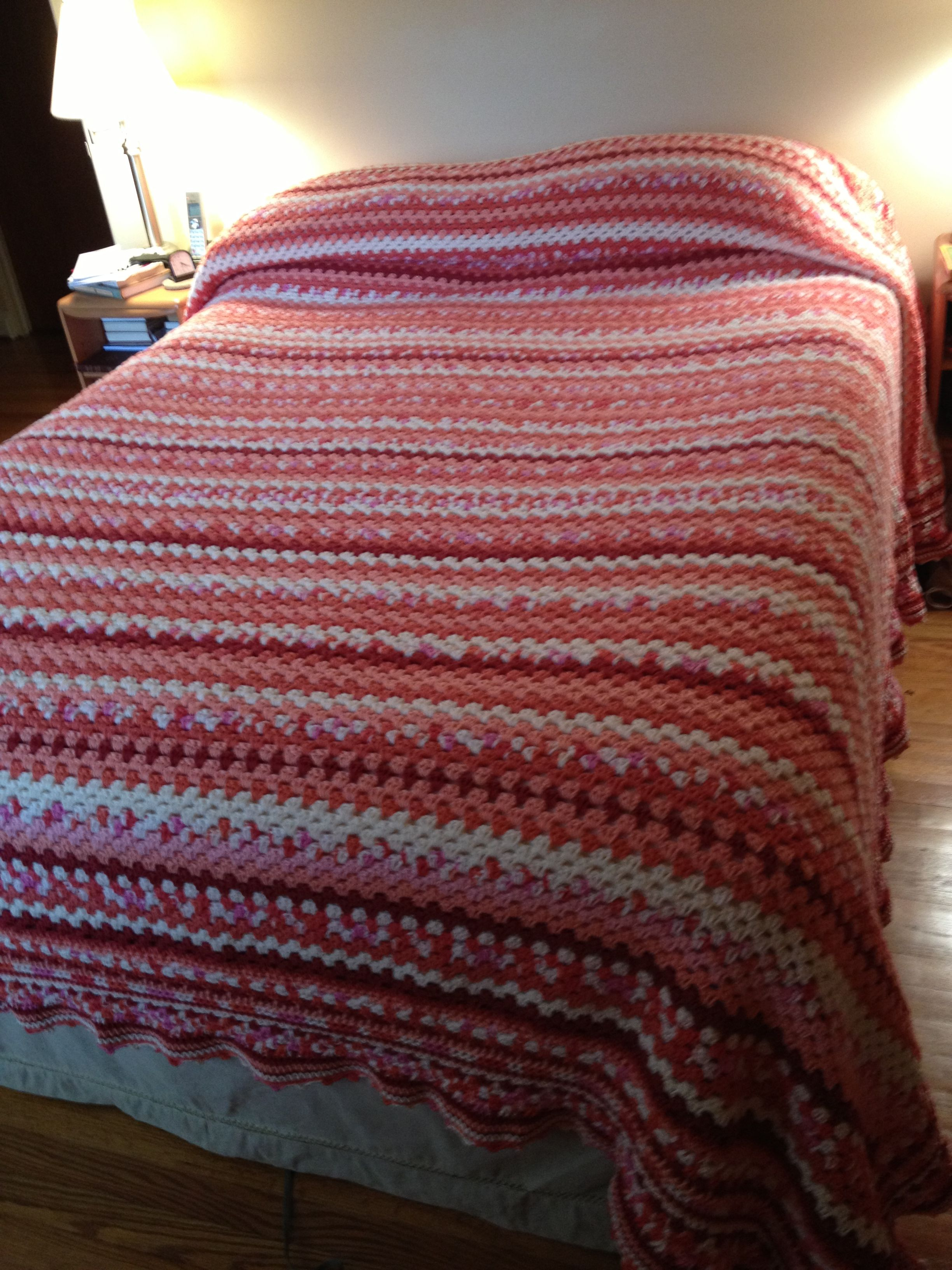 I crocheted this bedspread while sick with a kidney stone.  I love having it on my bed!  Nothing like homemade!   #sleepwell  @Matt Joyner Warehouse