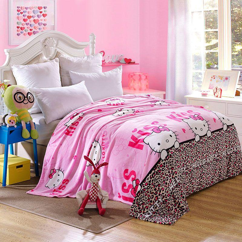 ba24dce9c Kawaii Hello Kitty Blanket Cartoon Coral Fleece Blanket Throw on The Bed  Sofa Travel for Adult