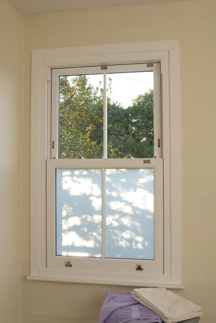 White upvc sliding sash window featuring silver mist - Obscure glass windows for bathrooms ...