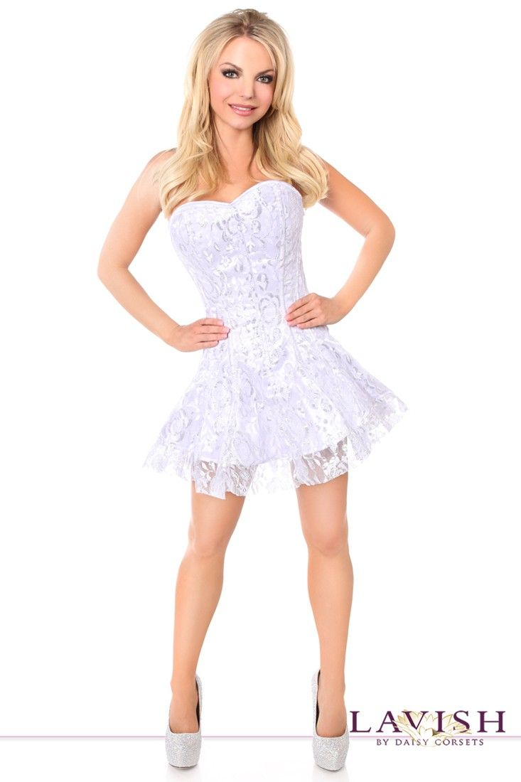 Lavish White/Silver Lace Corset Dress - Lace- Satin and Corsets