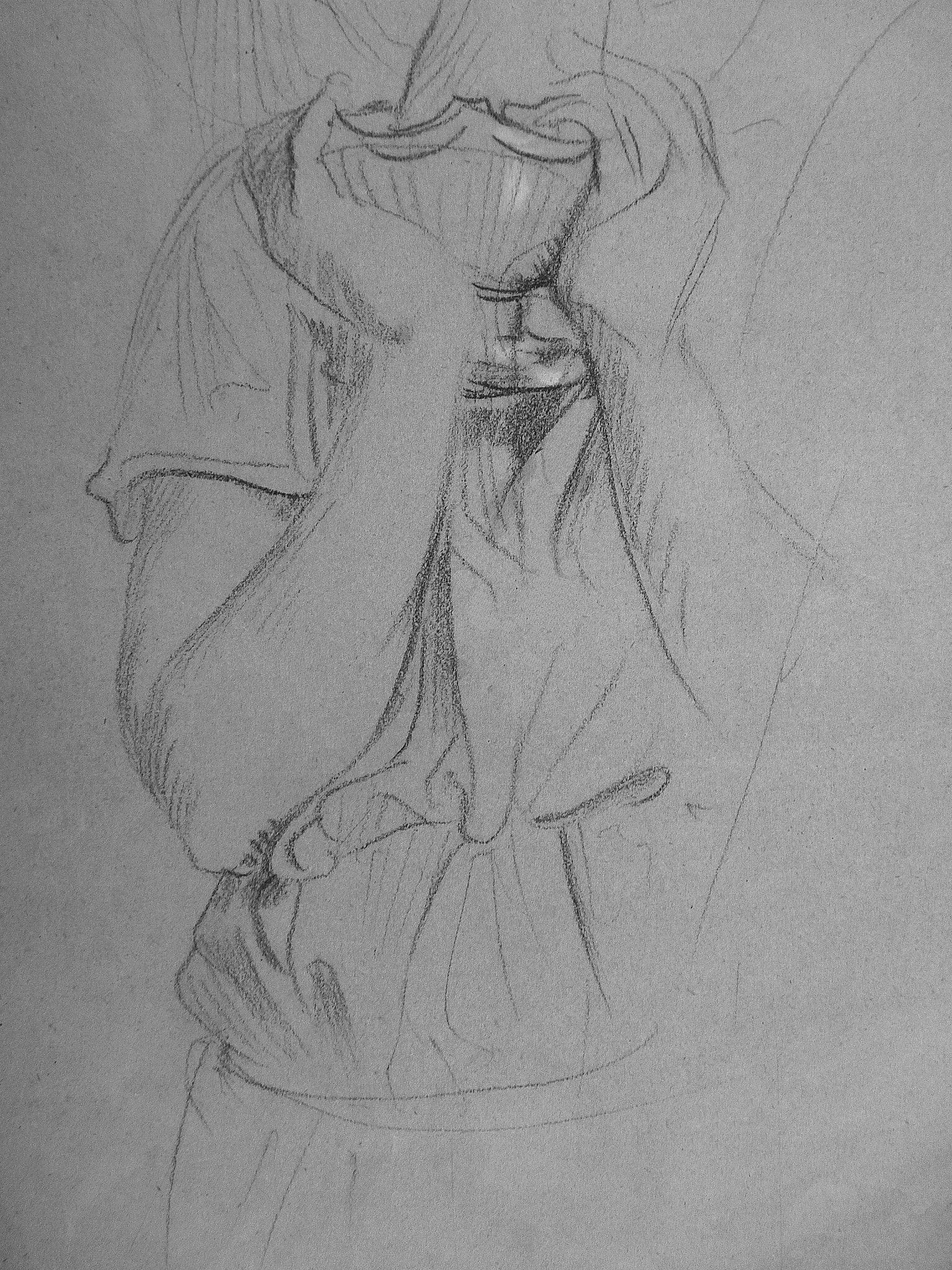 CHASSERIAU Théodore,1843 - Ste Marie l'Egyptienne, Légende, Etude pour l'Eglise St-Merri - drawing - Détail 08