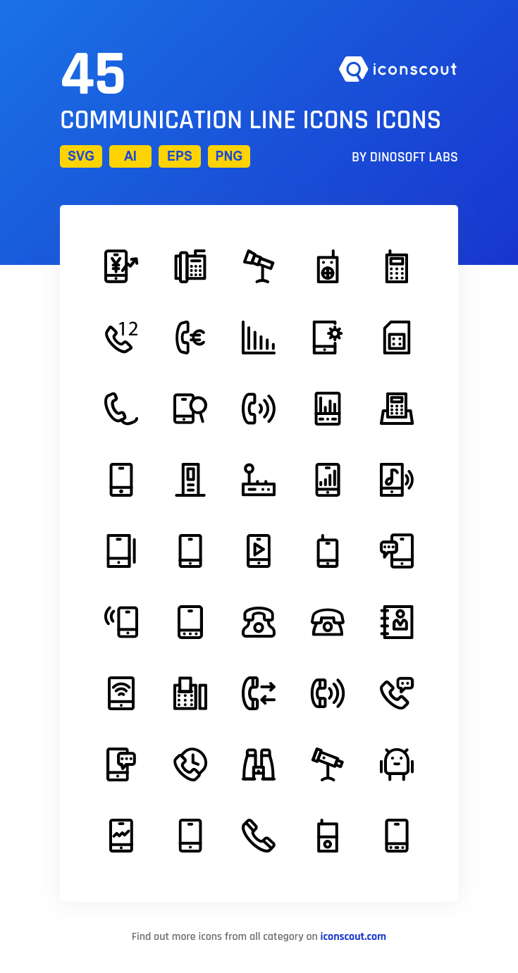 Download Communication Line Icons Icon pack Available in