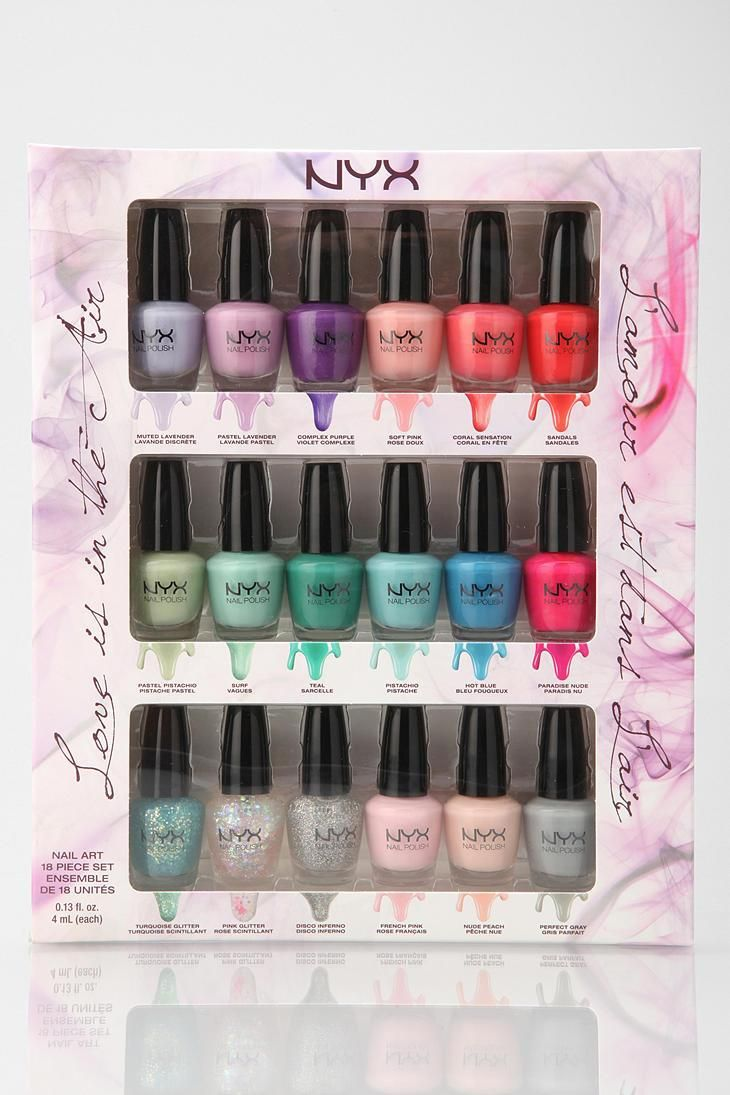 This 18 piece nail polish set from NYX is filled with petite bottles ...