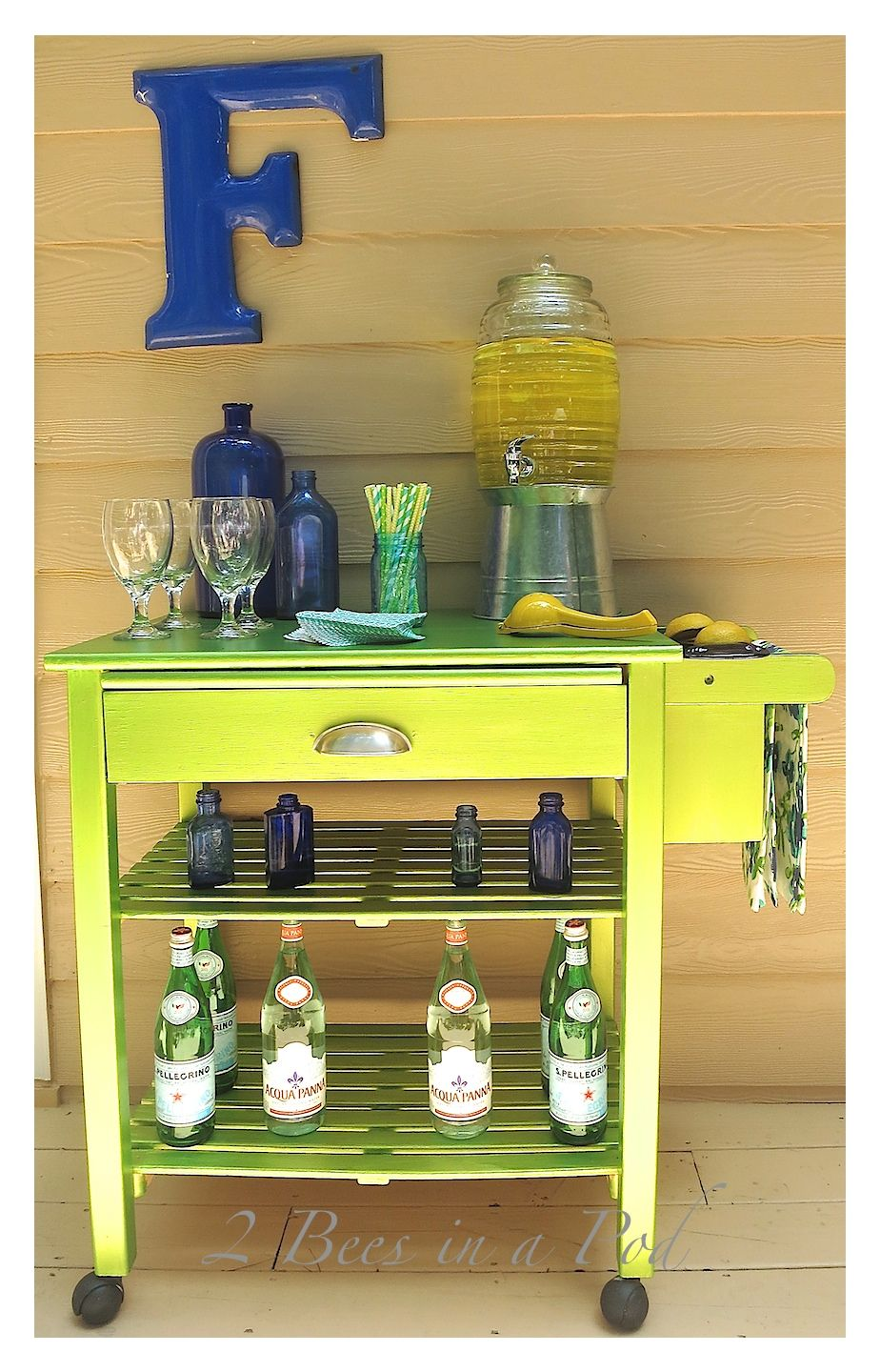 Microwave Cart Got A Makeover Into Stylish Outdoor Bar Lying Modern Masters Metallic