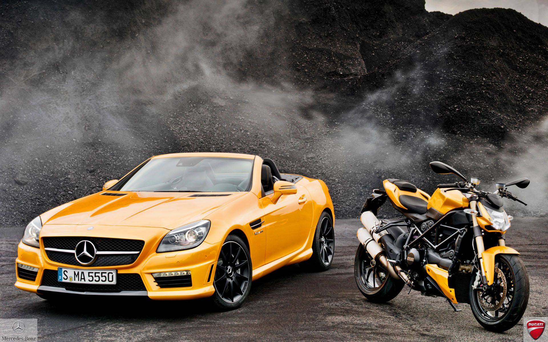 Mercedes Benz Slk55 Amg And Ducati Streetfighter 848 Wallpaper