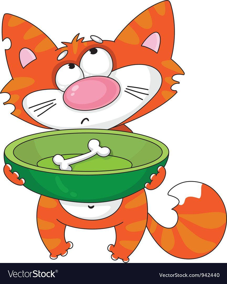 Hungry Cat Vector Image On Vectorstock Cat Vector Kitten Cartoon Cats
