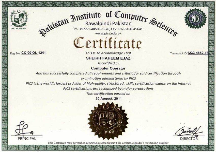 pics online sample certificates pakistan institute of
