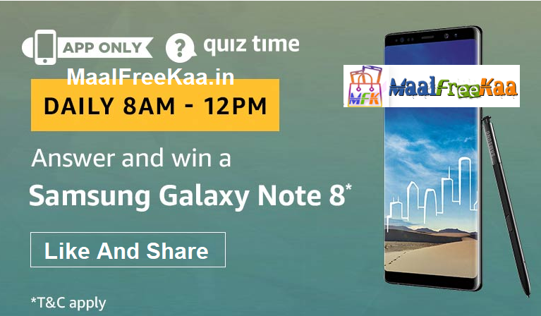 Amazon QuizTime Contest Answer and Win Samsung