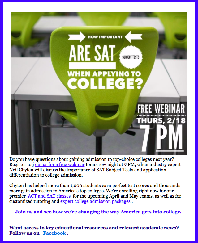 Tomorrow Night FREE SAT Subject Tests and College