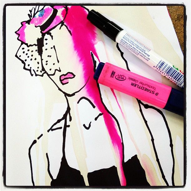 Im Back Fashion Illustration Colors Pink Ink Art Style Hat At Shenkar School Of Engineering And Design Pink Fashion Art Illustration Ink Art