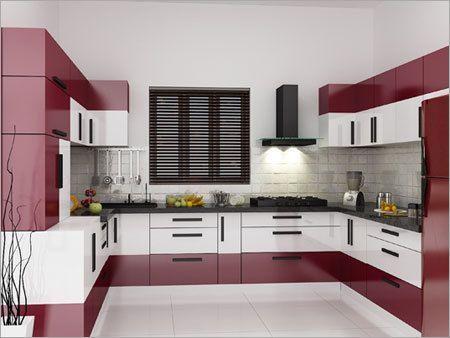 Modern U Shaped Modular Kitchen Design With Window