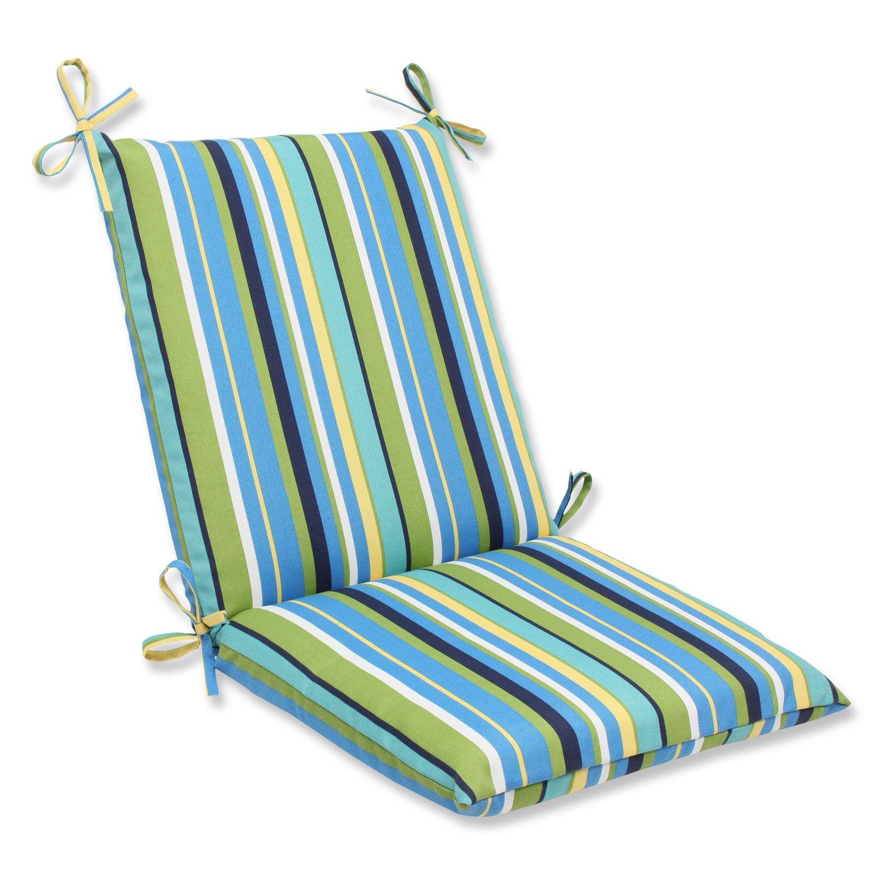 Pillow perfect topanga stripe lagoon squared corners chair cushion