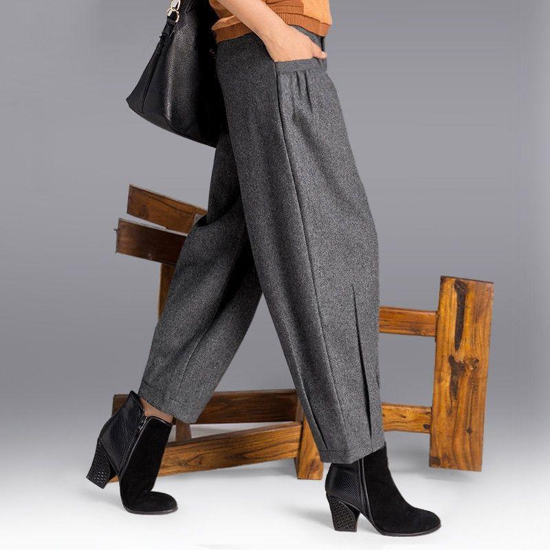 94358c647e2c5 Women s Autumn Winter Wide Leg Pants Women Korean Style Worsted Trousers  Female High Waist Palazzo Harem