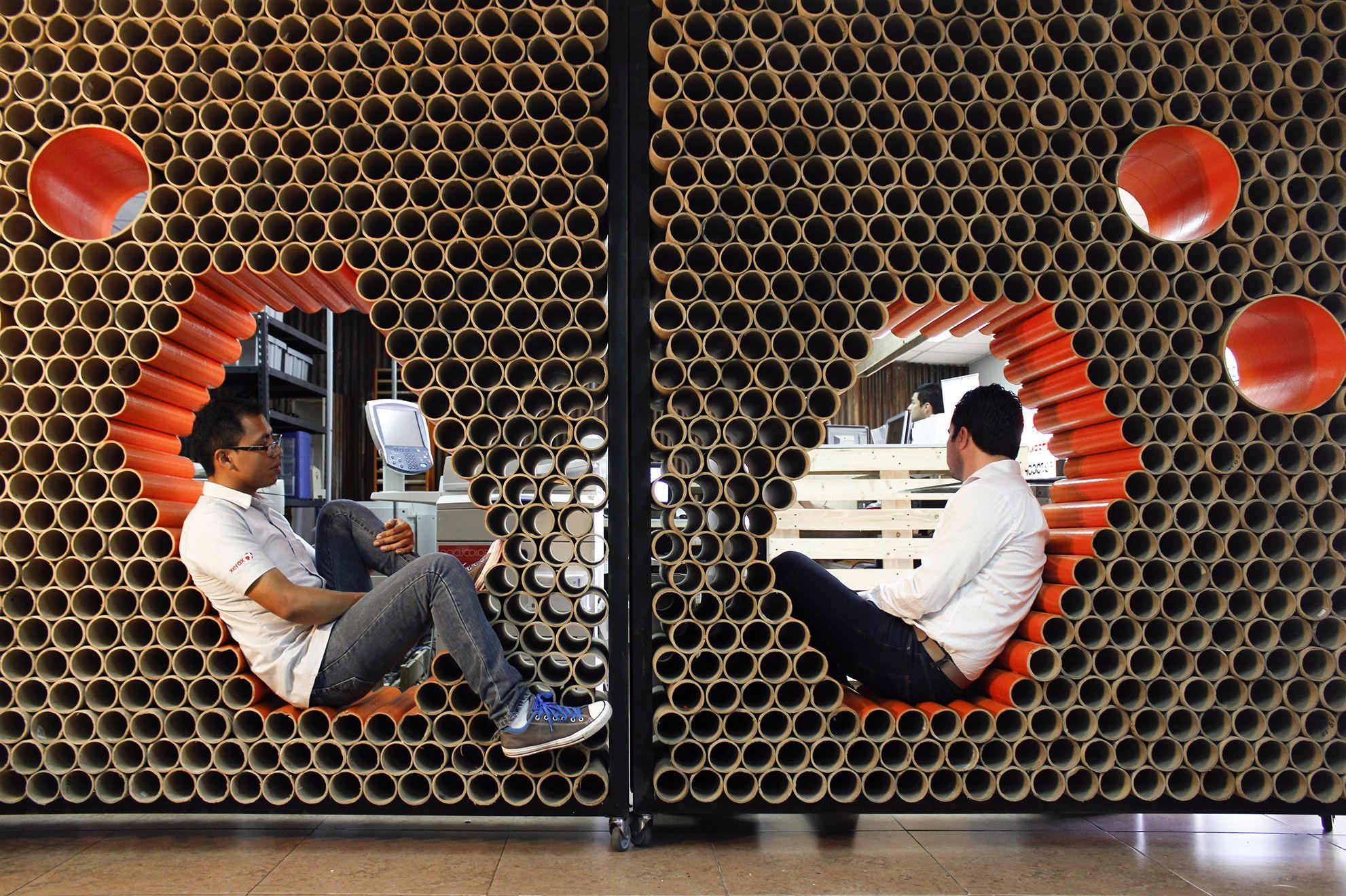 Reutilizaci N De Materiales En Guatemala Muro Mobiliario  # Muebles De Tubos De Carton