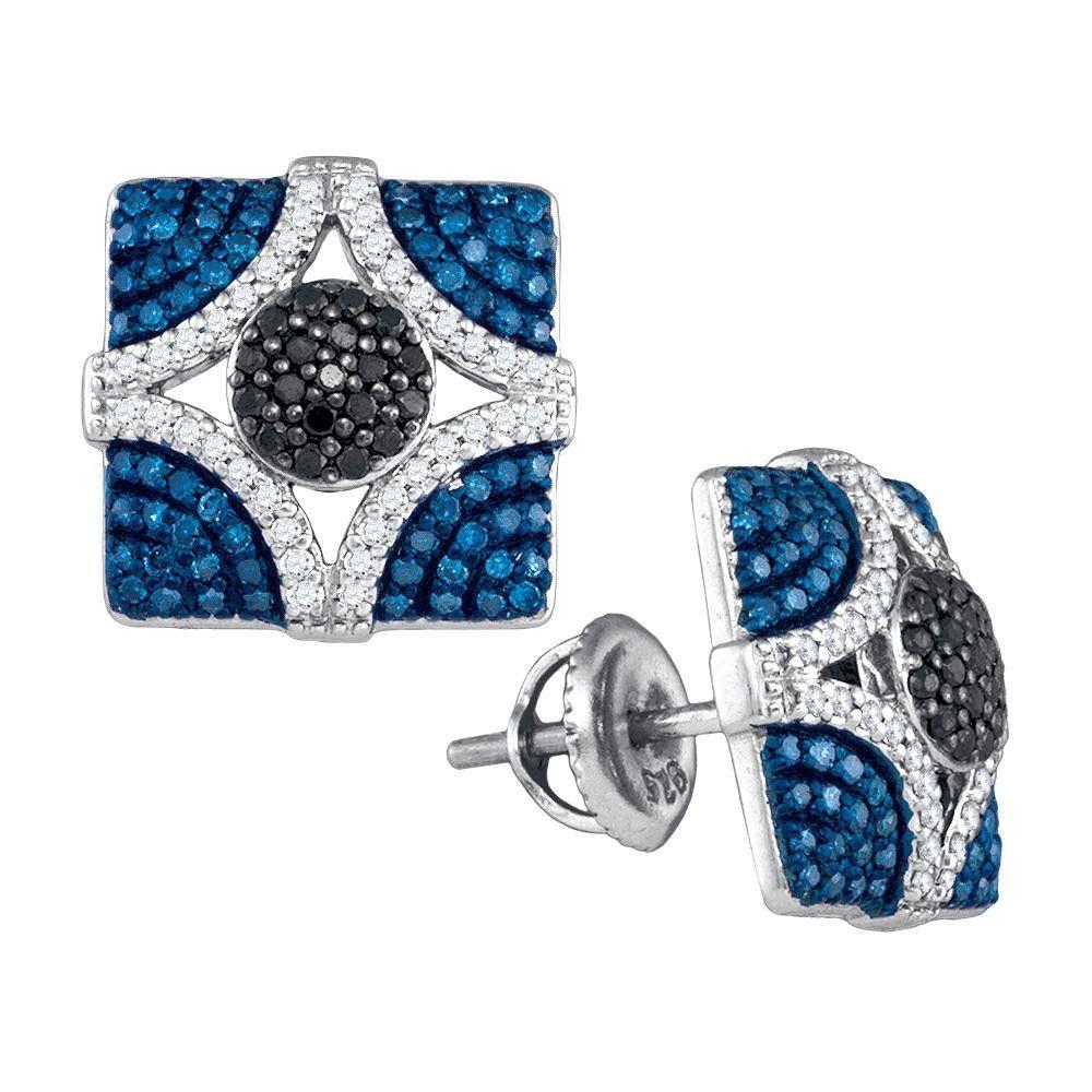 7-8CTW-Diamond BLUE EARRING