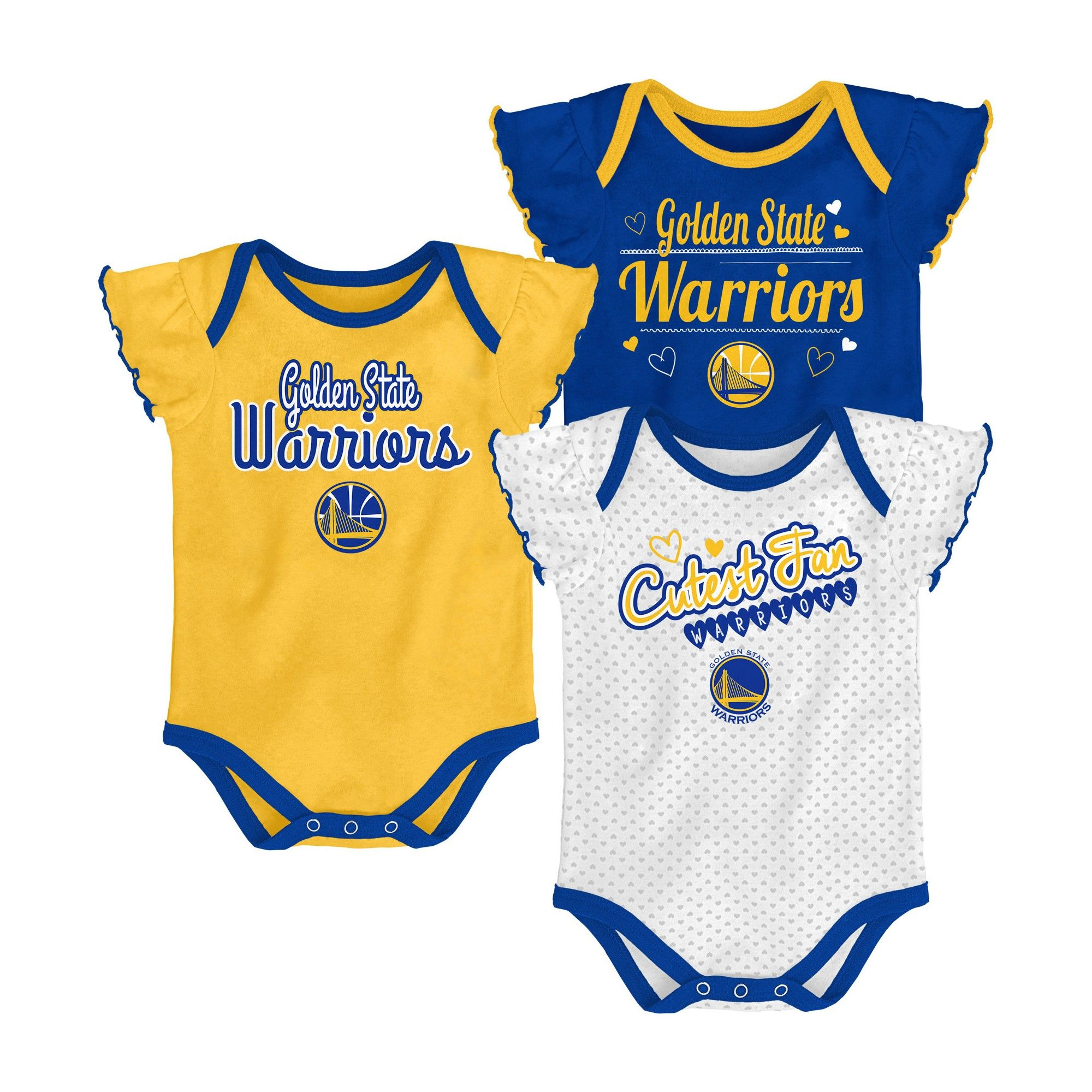Golden State Warriors Girls Draft Pick 3pk Body Suit Set 0 3 M Size 0 3m Multicolored Golden State Warriors Nba Golden State Warriors Warrior Girl