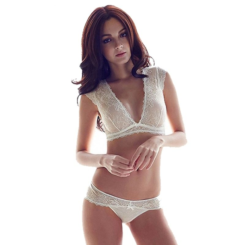8a0eee6b14 Sexy Mousse Transparent Lace Bra Set Deep V Lingerie Ultra-thin Bra Breifs  Set Unlined women s underwear sets Full Soft Cup Price  23.92   FREE  Shipping ...