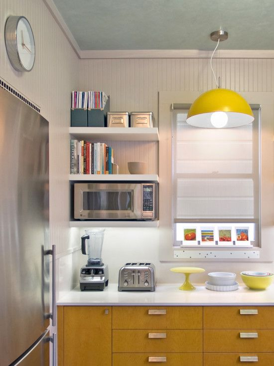 Kitchen Wall Mounted Cabinets Panels Saving Space 15 Ways Of Mounting Microwave In Upper New With Open Shelving
