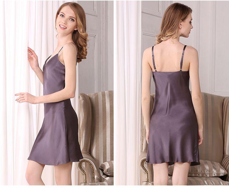 Sexy Silk Nightgowns Female 100% Mulberry Silk Sleeping Dress 2018 New  Summer Sleeveless Deep V 85977859f