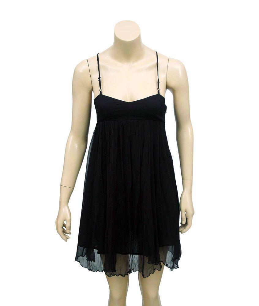 new free people smocked spaghetti strap black mini tunic dress