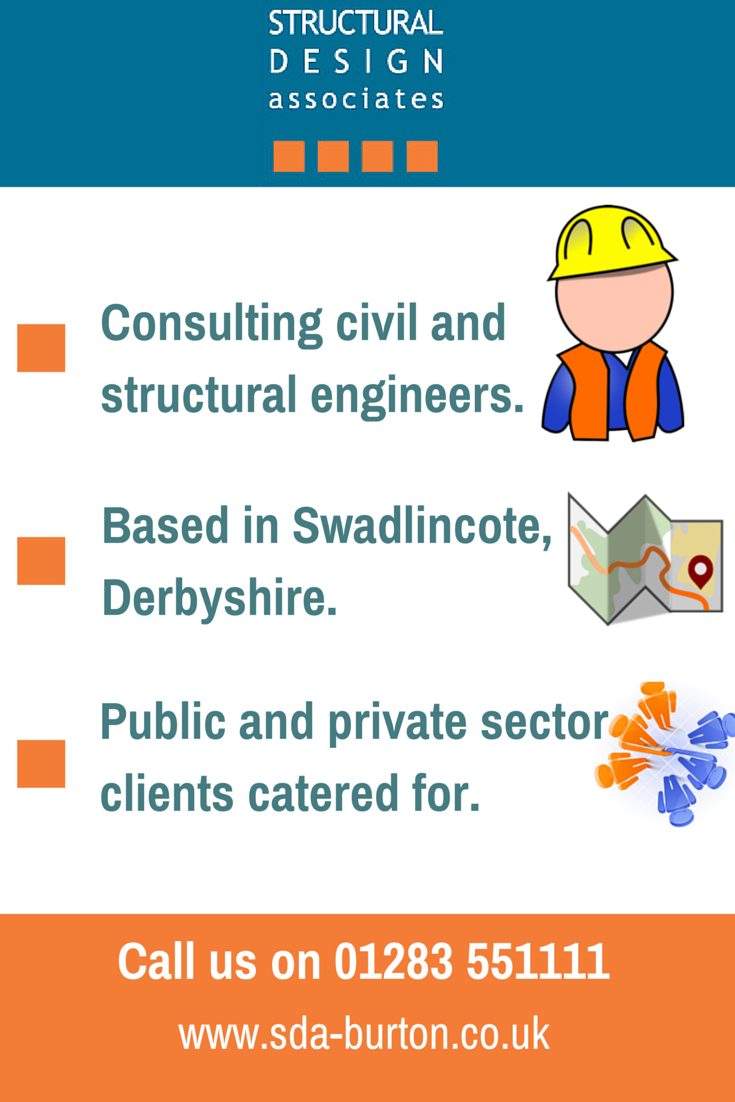 http://sda-burton.co.uk/  We are consulting civil and structural engineers based in Derbyshire with years of experience.  1A & 2A Oaktree Business Park Cadley Hill Road, Swadlincote  Derbyshire, DE11 9DJ