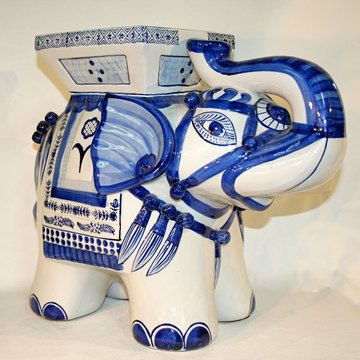 We Always Have A Ceramic Elephant Stool In Store...and Not Just Blue